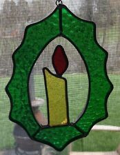 Vintage stained glass Christmas candle holly wreath glass sun catcher lead