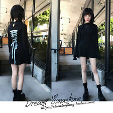 Japanese Harajuku Gothic Lolita Vintage Embroidery Black Long Sleeve Slim Dress