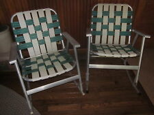 Vintage Pair ALUMINUM FOLDING ROCKING CHAIRS Green/White WEBBED Patio-Camping