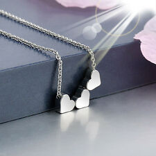New Fashion Stainless steel Women Jewelry Three Heart Charms Pendant Necklace