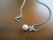 Vintage 14k White Gold Diamond & White  Pearl 7 mm Pendant/Necklace 17""