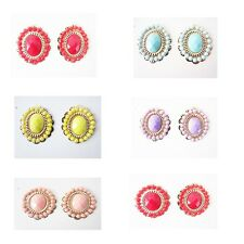 12 PAIRS NEW WHOLESALE FASHION LOT JEWELRY EARRINGS-ASSORTED COLORS-GOLD PLATED
