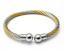 Stainless Steel Twisted 2-Tone Cable Ball Cuff Bangle Bracelet