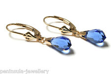 9ct Gold Blue Swarovski Crystal elements LeverBack earrings Made in UK