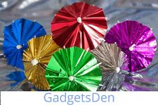 50 Pcs - Multi Color Design - Metallic Foil Cocktail Umbrellas Parasols - Sticks
