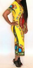 African Women's Dashiki Print Stretch Sun Dress Kaftan Maxi Gown Free size