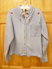 ENZA Denim Front-Button Shirt with Embroidered Ladybugs - Women's Size 2X