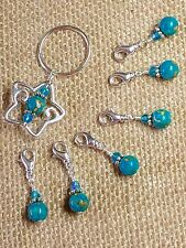 Removable Clip-On Blue Mosiac Turquoise Stitch Markers with Star Holder