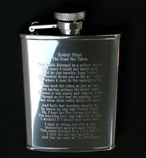 Robert Frost Road Not Taken Poem Engraved on Stainless Steel Hip Flask