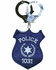 Police Officer Cop Sheriff Metal Handcuffs Handle Key Badge Shape Blue Bag Purse