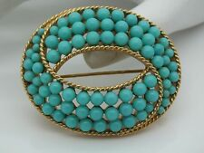 VINTAGE RARE CROWN TRIFARI BLUE GREEN IMITATION TURQUOISE BEAD BROOCH
