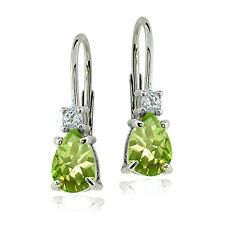 Sterling Silver Peridot & White Topaz Teardrop Leverback Earrings