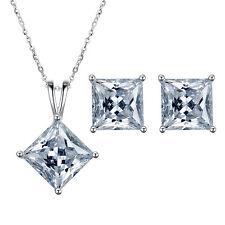 Nice 925 Silver CLEAR Zircon Crystal Pendant Necklace Drop Earrings Jewelry Set