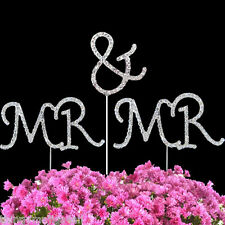 DIAMANTE SPARKLING GAY GROOM MR & MR WEDDING CAKE TOPPER DECORATION UK SELLER