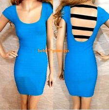 NWT bebe M / L medium Large blue black Ladder striped back  bodycon top dress
