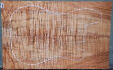 EXOTIC Tiger Stripe Curly Spalted Maple Wood #4716 Electric Bass Guitar Top Set