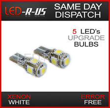 2x XENON WHITE 6000K CANBUS ERROR FREE SIDELIGHT 5 LED W5W T10 501 CAPLESS BULBS