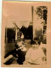 Vintage Antique Photograph Little Boy and Girl Sitting In Yard By House