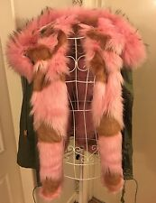Khaki Parka 100% Real Racoon fur Collar Pink  -  UK 10