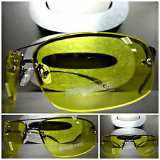 DRIVING RIDING Day Night High Definition Vision Yellow Lens SUN GLASSES Gunmetal