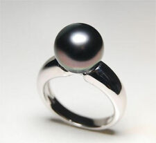 Genuine natural round AAA+ 9-10mm tahitian black pearl ring + box