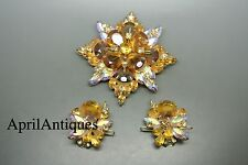 Vintage Juliana D&E Amarillo Marrón Estrás Cruz Broche Aretes