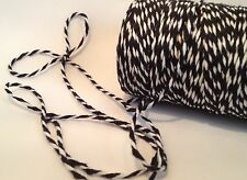 1mm CHRISTMAS BLACK & WHITE COTTON BAKERS TWINE STRING FULL ROLL 100m
