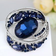 Silver Plated Blue Rhinestone Crystal Vintage Wedding Brooch Pin