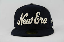 New Mens Womens New Era Luxury 59Fifty Meltweed Navy Wool Script Fitted Cap Hat