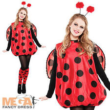 Red Ladybird Ladies Fancy Dress Animal Insect Lady Bug Womens Adult Costume New