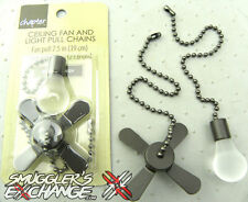 BRONZE BROWN CEILING FAN & LIGHT BULB Metal Pull Chain Set, NEW!