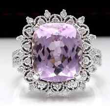 7.00 Carats NATURAL KUNZITE and DIAMOND 14K Solid White Gold Ring