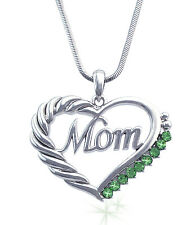 MOM Lime Green Crystal Heart Necklace August Birthday Gift For Mom GiFT BOX