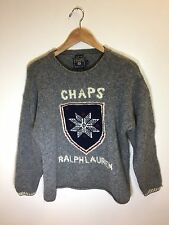 Chaps Ralph Lauren Vintage 92 Polo Early 90s Hand Knit Logo Sweater Rare L