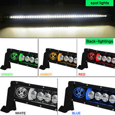 52inch 220W Single Row LED Light Bar Spot Beam Blue Back-Light Bar For Jeep SUV