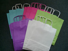 20 Mixed Colours Paper Twist Handle Gift Bags Blue, Pink, Green, White & Purple