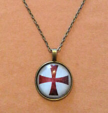 Bronze Knights Templar Red Cross Masonic Glass Dome Necklace Pendant