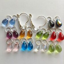 10 Pairs Czech Teardrop SP Earring Charms & 2 Interchangeable Copper Lever back