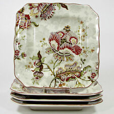 """222 Fifth GABRIELLE - CREAM 8.5"""" Square Scalloped Salad Plate Set 4Pc Floral PTS"""