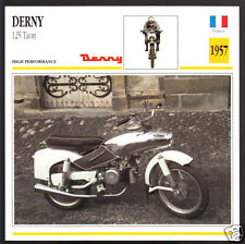 1957 Derny 125cc Taon T3/T4 Scooter France Motorcycle Photo Spec Sheet Info Card