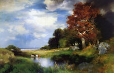 Large Oil painting Thomas Moran - View of East Hampton with cows by pond canvas
