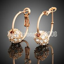 Cute Ball 18K Yellow Gold Plated Swarovski Crystal Hoop Earring Q431