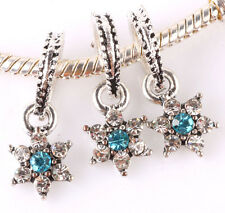 3P 925 Silver shining stars Charm Beads Fit European Bracelet Pendant Chain A265