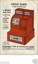 1956 PAPER AD Uncle Sam's 3 Coin Cash Register Bank Durable Toy & Novelty Co