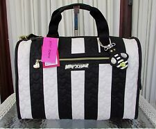 Betsey Johnson Quilted Hearts Weekender Travel Bag Duffle Stripe Black White NWT