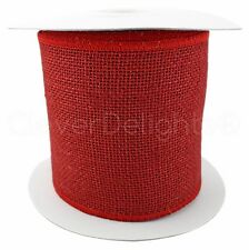 """4"""" Red Burlap Ribbon - 10 Yards - Wired / Finished Edges - Super-Fine Weave"""