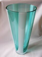 "Crystal Multi-color Stripes Flower Vase Gree & White11"" Tall x 5"" Wide At Top"