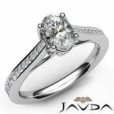 Oval Cut Bezel Channel Set Diamond Engagement Ring GIA F SI1 Platinum 950 0.80Ct