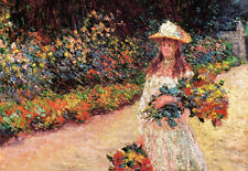 Stunning Oil painting Claude Monet - Young Girl in the Garden at Giverny CANVAS