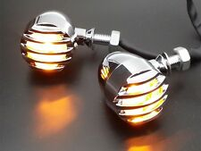 Chrome Grille Bullet TURN SIGNALS For Harley Bobber Chopper Cafe Racer BIG DOG